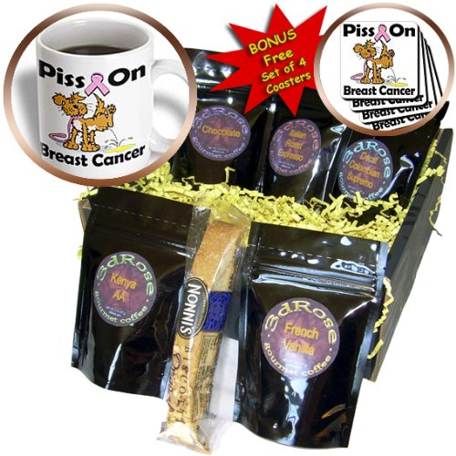 Dooni Designs Cause Awareness Ribbon Designs - Piss On Breast Cancer Awareness Ribbon Cause Design - Coffee Gift Baskets - Coffee Gift Basket (cgb_115800_1)