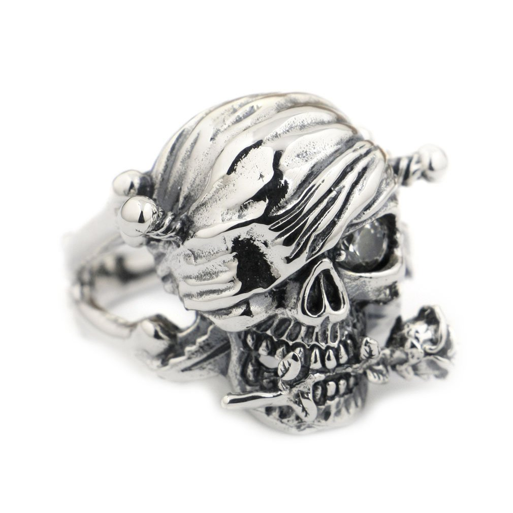 Sterling Silver Skull Rose White CZ Pirate Ring - DeluxeAdultCostumes.com