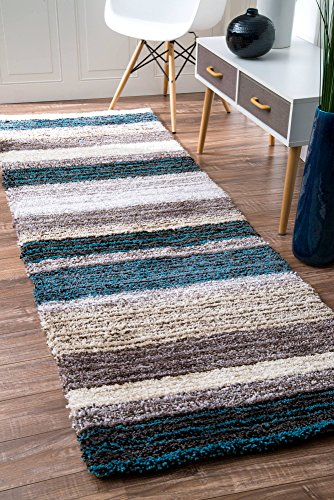 nuLOOM Handmade Striped Shaggy Blue Multi Runner Area Rugs, 2' 6
