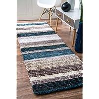 nuLOOM Handmade Striped Shaggy Blue Multi Runner Area Rugs, 2 6 x 8, Multicolor
