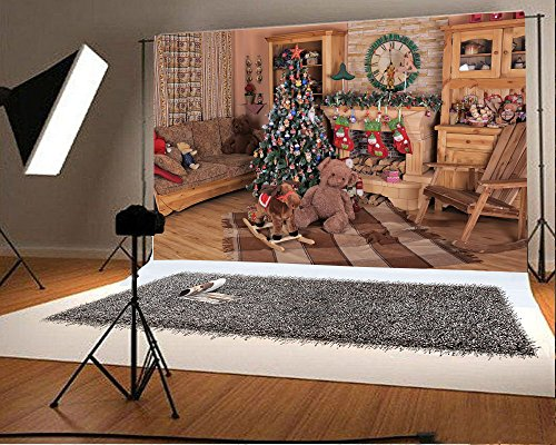 Laeacco 7x5FT Vinyl Backdrop Christmas Decorations Photography Background Living Room Sofa Wooden Chir Fireplace with Cute Stocks Clock Vintage Wall Cabinet Chic Curtain Lovely Bear Wood Horse
