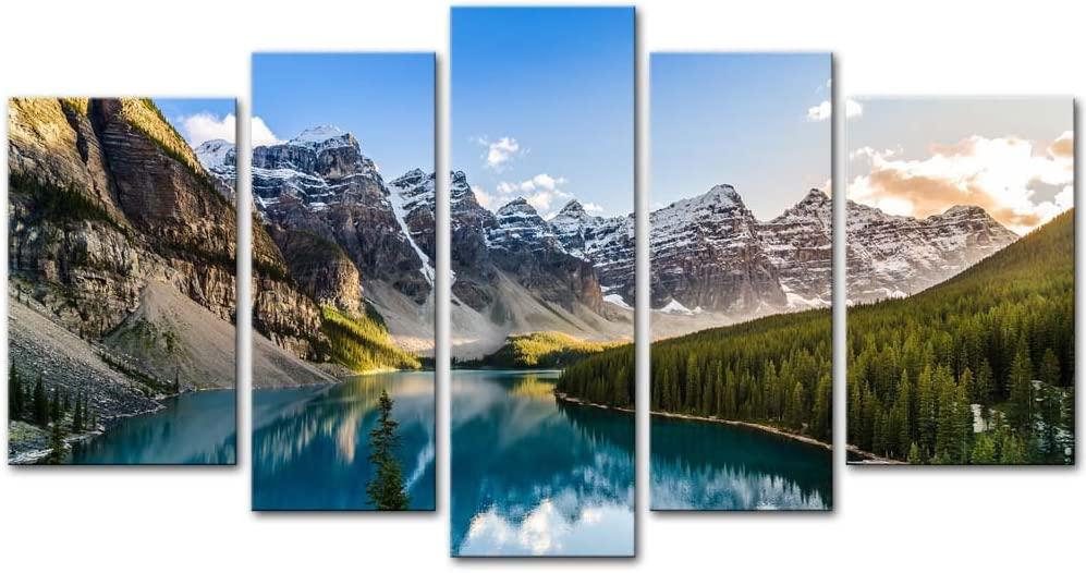 Wall Art Decor Poster Painting On Canvas Print Pictures 5 Pieces Moraine Lake And Mountain Range Sunset Canadian Rocky Mountains Landscape Framed Picture For Home Decoration Living Room Artwork
