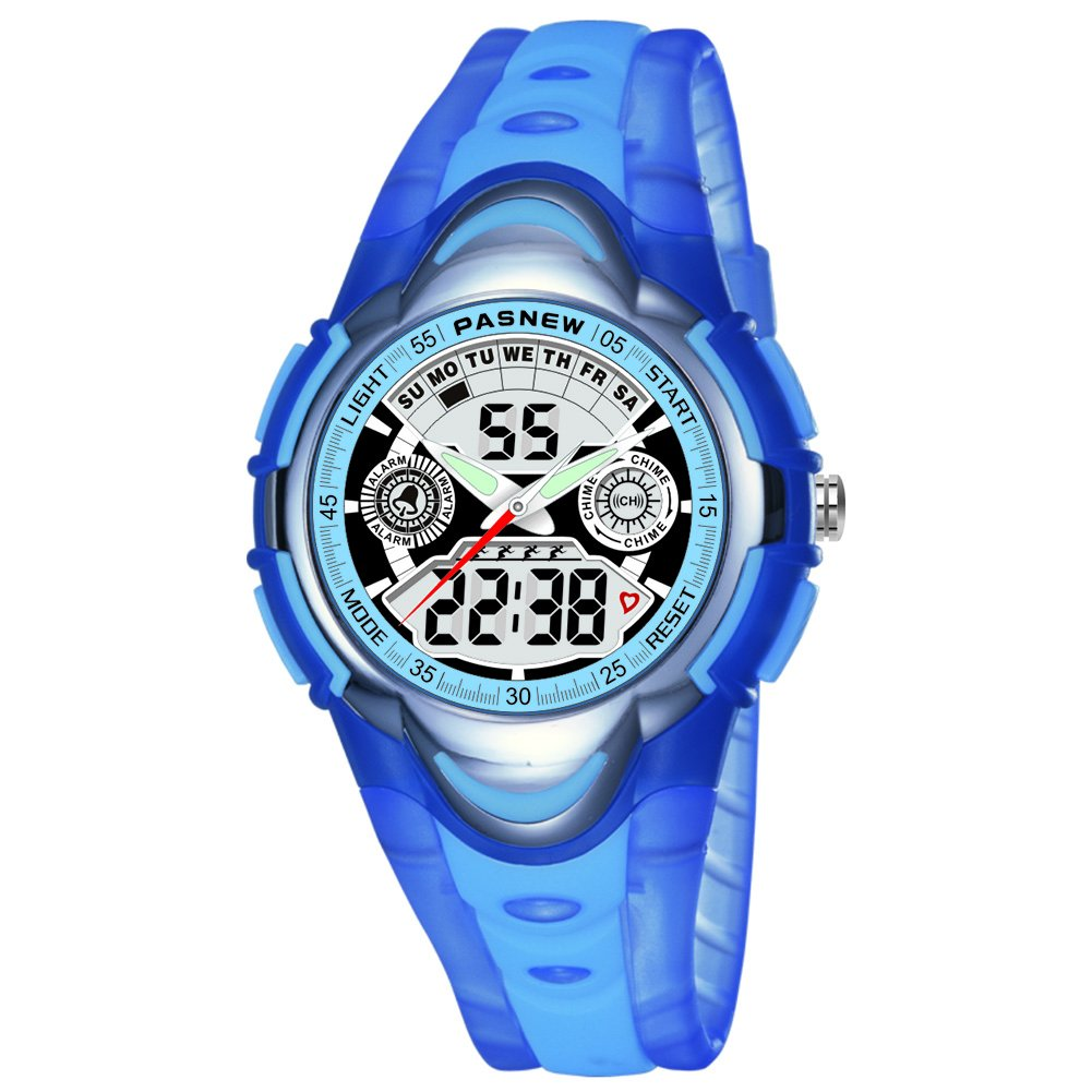 Etbotu Unisex Children Sport Waterproof Round PU Strap NowTime Calendar Alarm LED Luminous Digital Watch