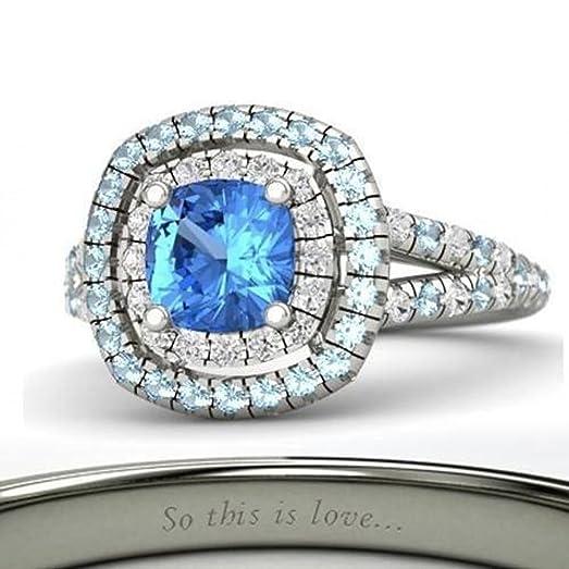 Tuskha 14K White Gold Plated Multi Color CZ Diseny Princess Cinderella  Engagement U0026 Wedding Ring