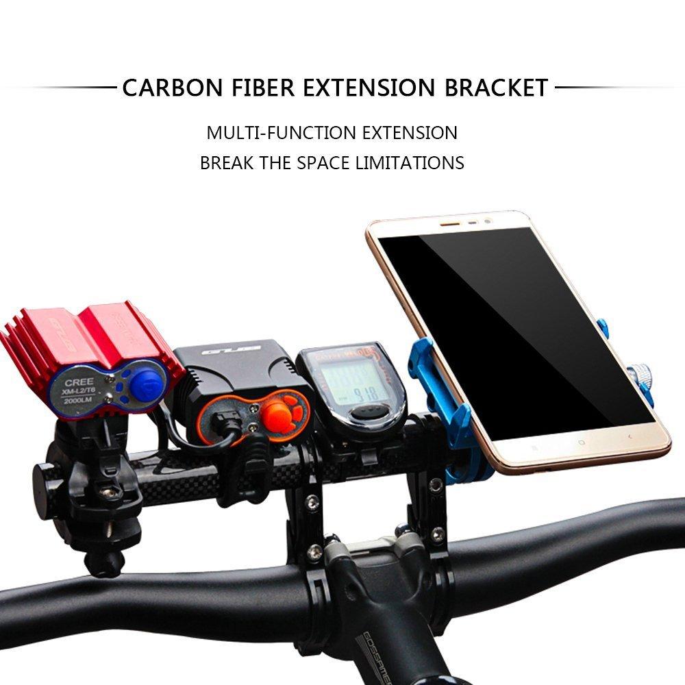 Telefono Cellulare GPS Tachimetro KenSpirit Manubrio Bicicletta Estensore Supporto Manubrio Bici Di Estensione Con Doppie Morsetti Doppio Telaio In Fibra Di Carbonio Staffa Per La Bici