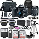 Canon EOS 77D DSLR Camera Bundle with Canon EF-S 18-55mm f/4-5.6 IS STM Lens + Canon EF 75-300mm f/4-5.6 III Lens + 2pc SanDisk 32GB Memory Cards + Accessory Kit