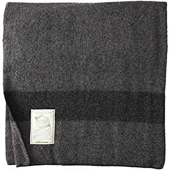 "Gilbin's Wool Blanket, Soft Loom Woven, 66"" x 84"", Color Navy"