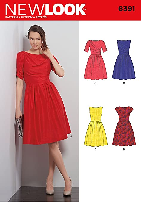 New Look 6391 Size A Misses\' Dresses Sewing Pattern, Multi-Colour ...