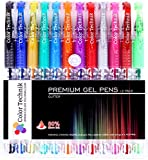 Gel Pens Glitter Set of 12 for Adult Coloring Books