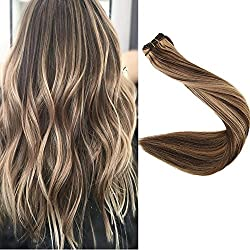 Full Shine 22 inch Human Hair Weft Extensions Full Head Balayage Hair Color #4 Dark Brown And #27 Honey Blonde Real Hair Hair Weft Remy Human Hair 100g Per Package