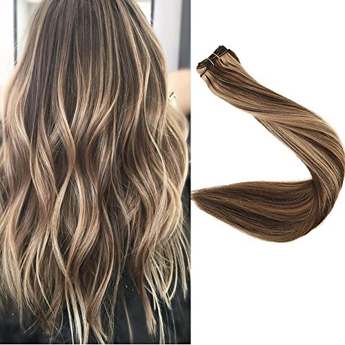 Full Shine 16 inch Ombre Hair Weft Extensions Full Head Remy Hair Extensions Human Hair Extensions Balayage Color #4 Medium Brown And #27 Honey Blonde Hair 100g Each Bundle
