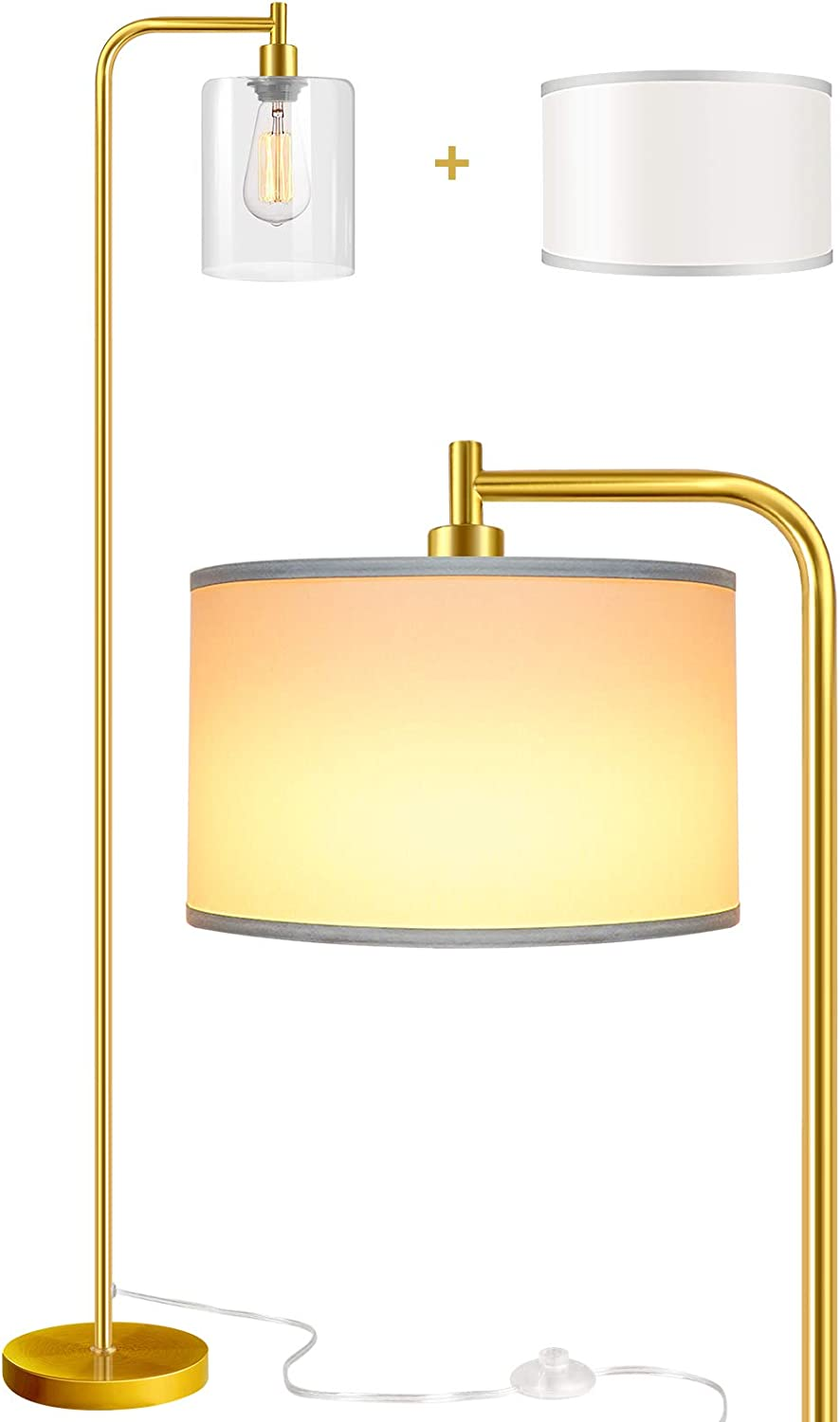 Qimh Floor Lamp with 2 Lamp Shades (Glass,Beige) & Edison Bulb,Indoor Pole Light to Match Living Room,Bedroom in Farmhouse, Vintage, or Rustic Style - Standing, Tall Lighting (Gold)