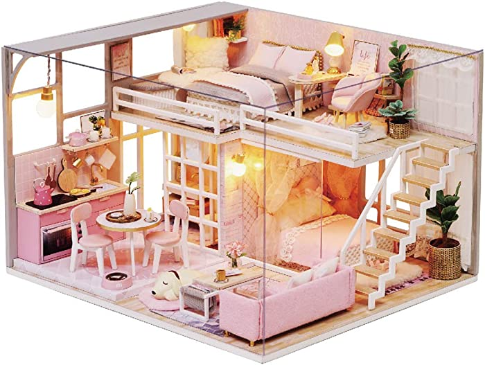 MAGQOO 3D Wooden Dollhouse Miniature Kit DIY House Kit with Furniture,1:24 Scale Creative Room Dust Proof Included (Girlish Dream)