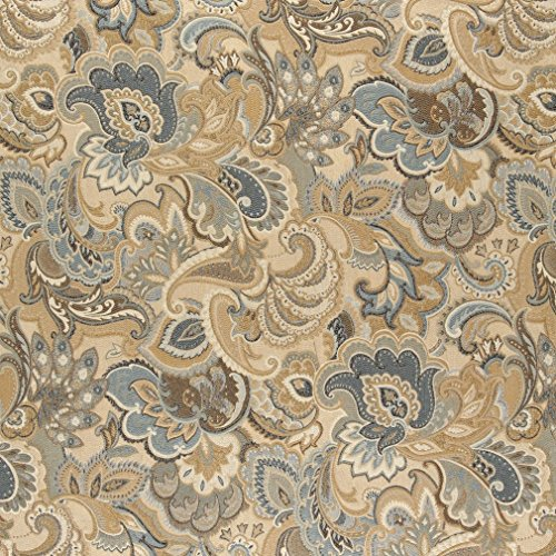 A0025A Gold Blue And Green Abstract Paisley Upholstery Fabric By The Yard - Metro Modern Sofa
