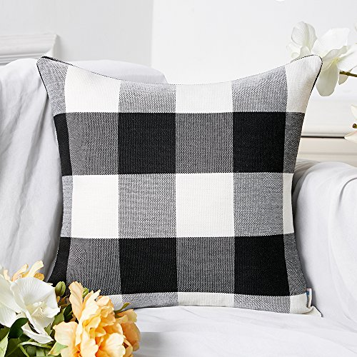Anickal Set of 2 Black and White Buffalo Check Plaid Pillow Covers Farmhouse Rustic Decorative Square Throw Pillow Covers Cushion Case 18x18 Inch for Home Sofa Couch Decor
