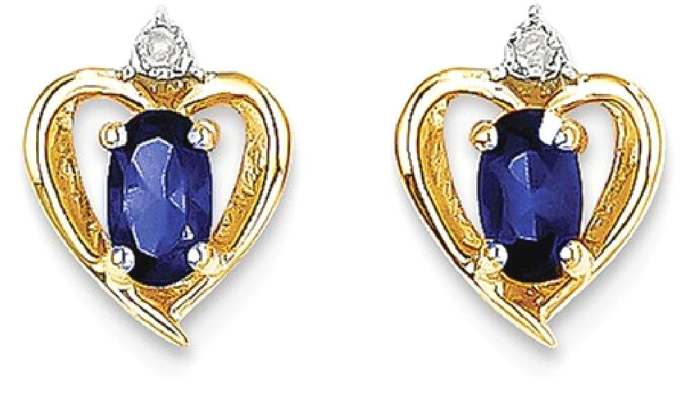 ICE CARATS 14k Yellow Gold Diamond Sapphire Post Stud Ball Button Earrings Birthstone September Love Set Style Fine Jewelry Gift Set For Women Heart