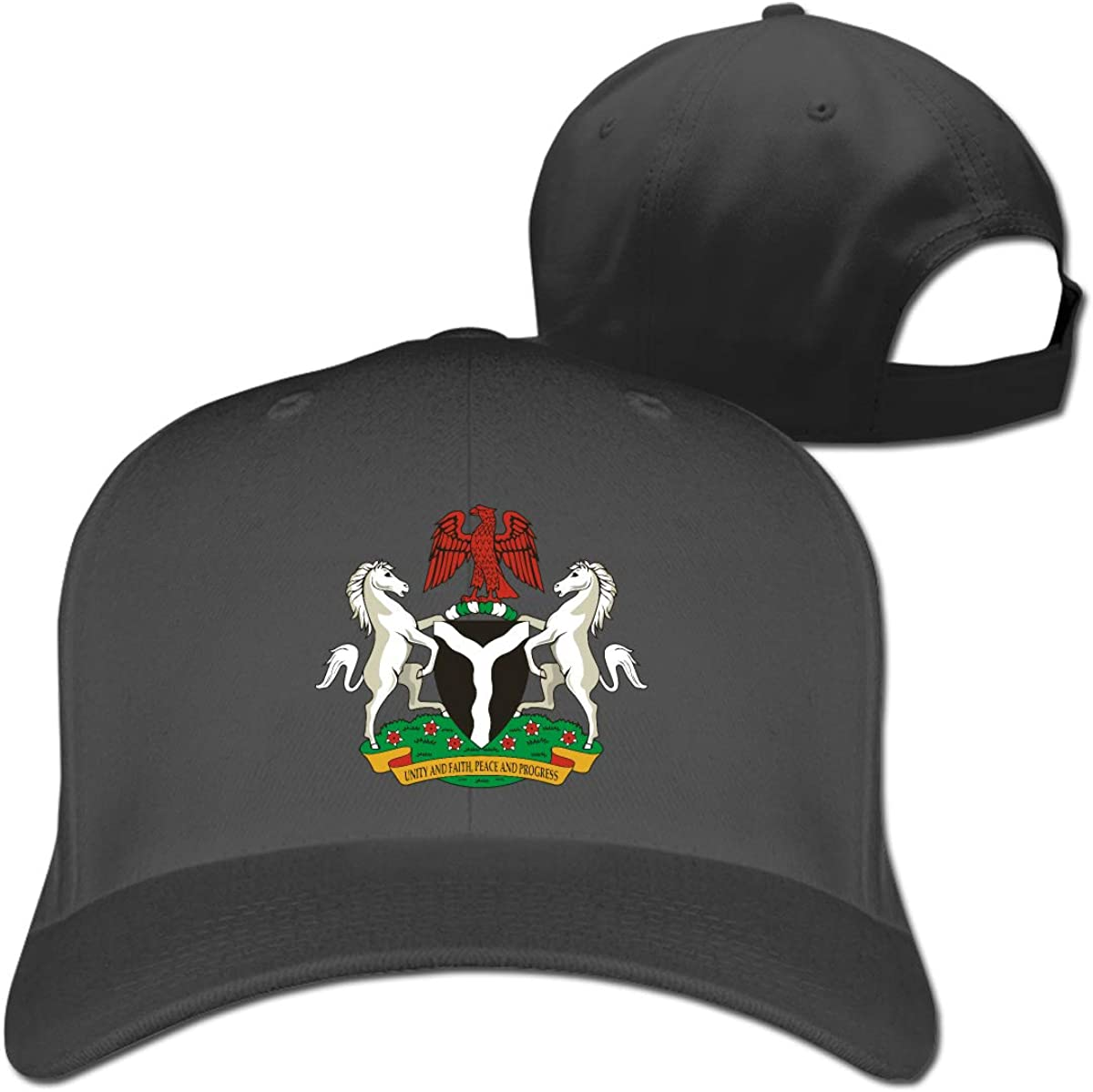 Coat of Arms of Nigeria Fashion Adjustable Cotton Baseball Caps Trucker Driver Hat Outdoor Cap Black