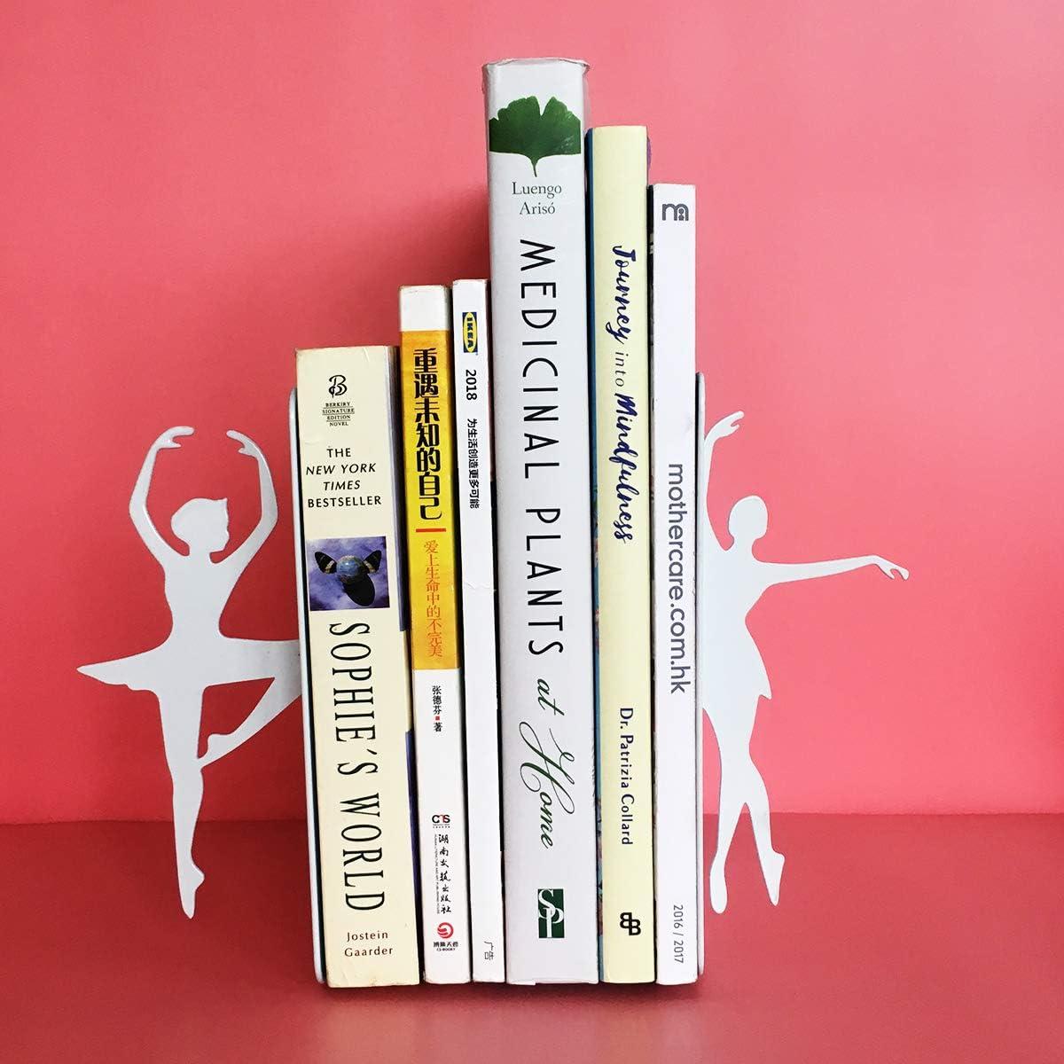 MsFun Ballerina Bookends Ballet Dancer Gifts for Girls Woman Man Non-Slip Heavy Duty Bookend Decorative for Kids Desktop