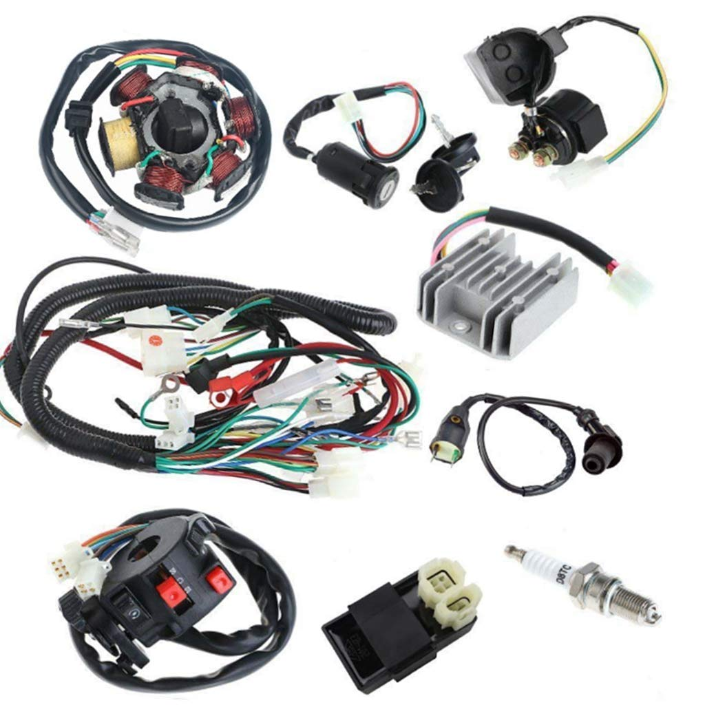 Templehorse Complete Electrics All Wiring Harness Wire Loom Assembly for GY6 4-Stroke Engine Type 125cc 150cc Pit Bike Scooter ATV Quad