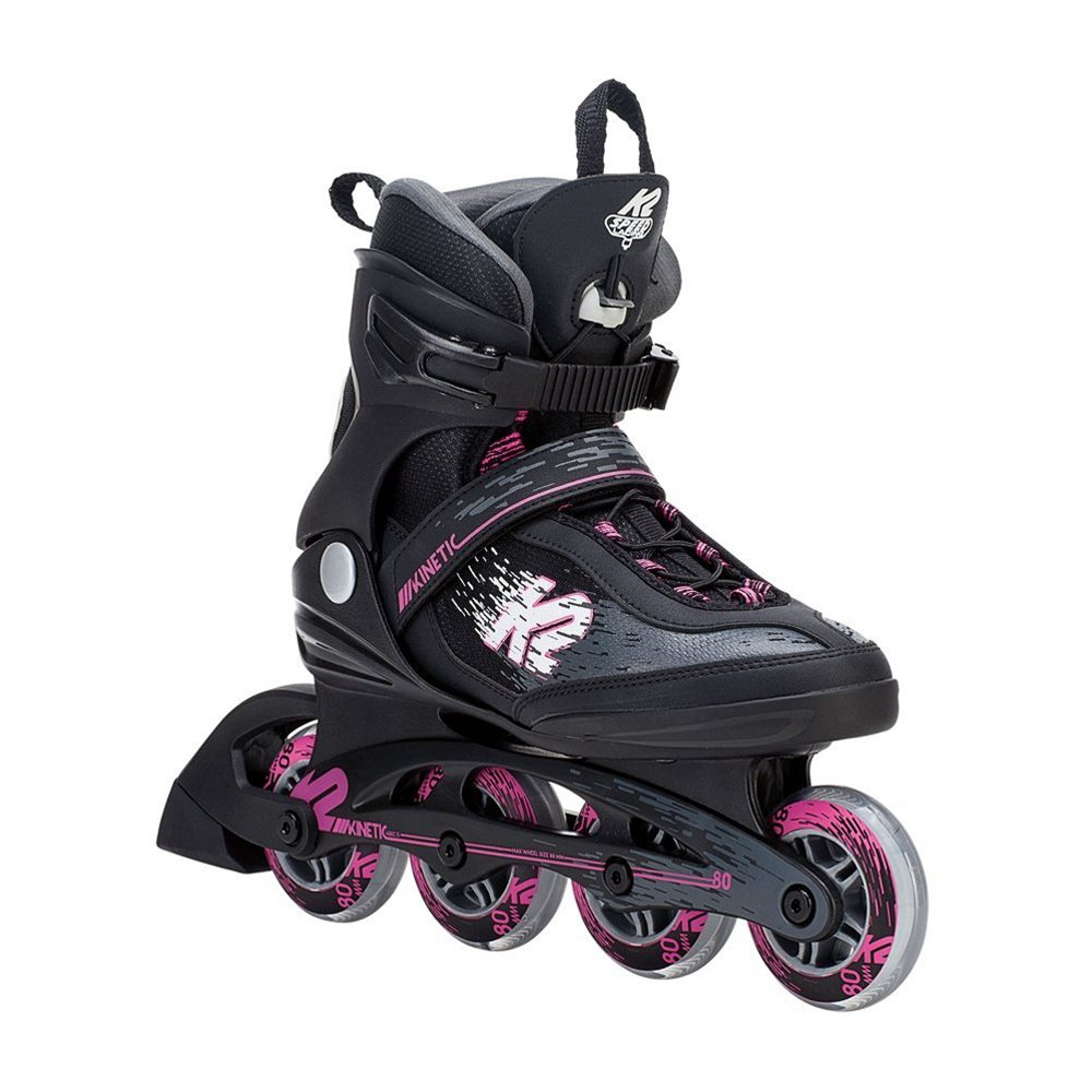 K2 Skate Women's Kinetic 80 Pro Inline Skate, Black Pink, 8.5