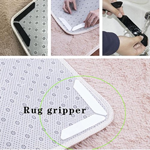 Sothread 8Pcs Rug Grippers Non-Slip Sticker for Pads Flatten Carpet Corners Anti Curling Mat for Hard Floors (Black) by Sothread (Image #5)