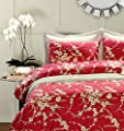 Japanese Oriental Style Cherry Red Blossom Floral branches Print Duvet Quilt Cover 300tc Cotton Bedding 3 piece Set