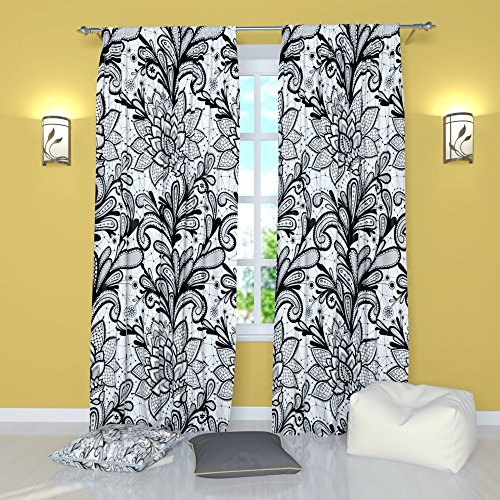 Factory4me Black and White curtains by Lacy flower. Window C