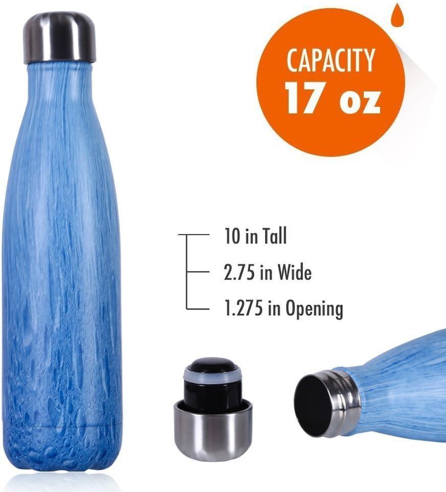 BPA gratis Botella de agua de 500 ml de Liveup SPORTS Aislada al Vac/ío de Acero Inoxidable Botella de Agua Doble Pared para Mantener sus Bebidas Caliente y Fr/ía