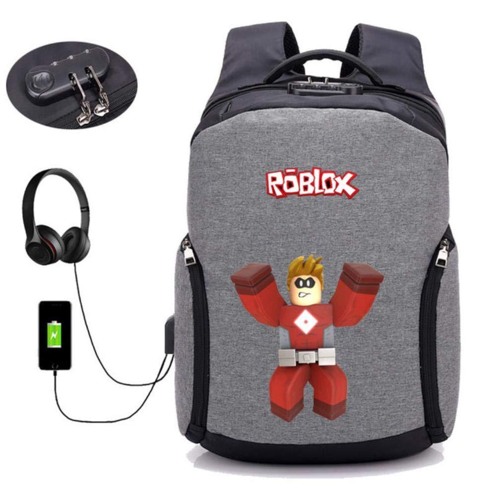 GuiSoHn Mochila de Carga USB Antirrobo Anime Roblox Backpack Escolar Mochila de Estudiante Adolescentes Portátil Rucksack de Viaje