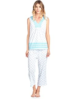 Casual Nights Women s Lace Sleeveless Top and Capri Bottom Sleepwear Pajama  Set dc301dc78