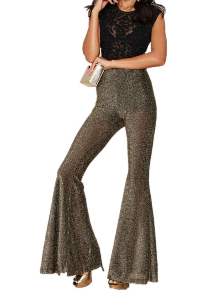 Enlishop Women Golden High Waist Wide Leg Long Flare Bell Bottom Palazzo Pants