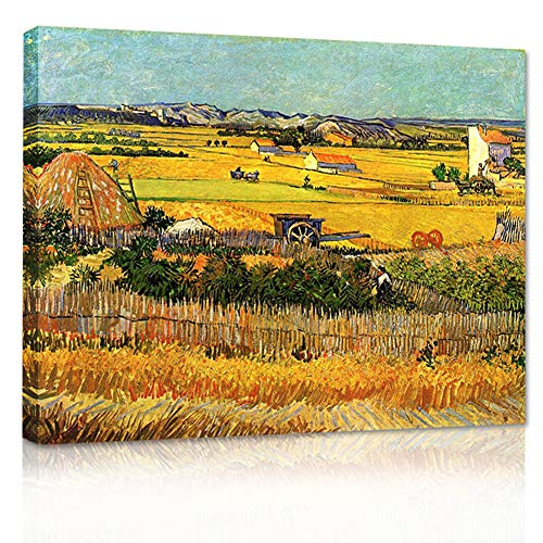 Van Gogh Canvas Prints Framed- Harvest at La Crau Giclee Farm Oil Painting Wall Arts with Gold Corn Field Stretched Removable Wall Picture Illuminative Art Painting for Home Office Decor-28×20