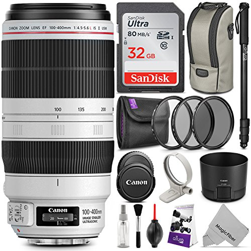 400l Memory (Canon EF 100-400mm f/4.5-5.6L IS II USM Lens w/ Essential Photo Bundle - Includes: Altura Photo UV-CPL-ND4, Monopod, Camera Cleaning Set)