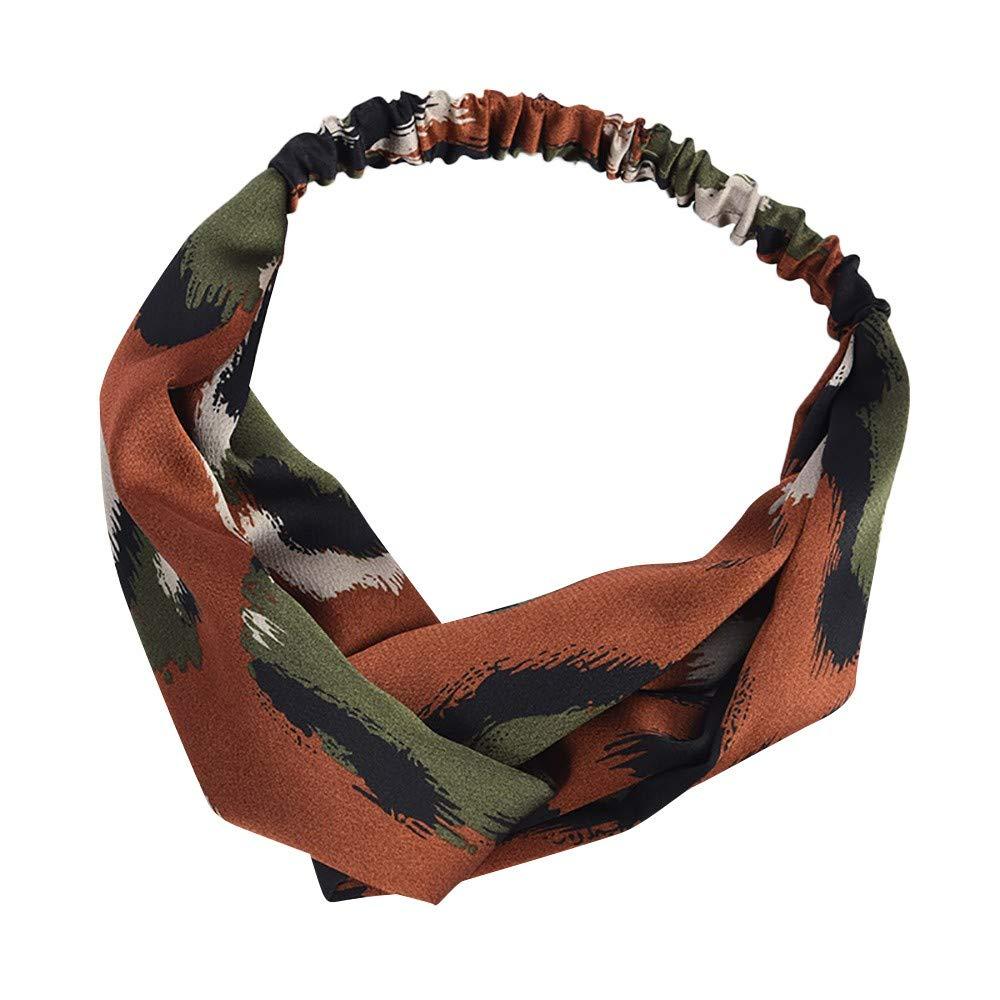 Headbands for Women Cute Twist Headband Criss Cross Head Wraps Boho Flower Printing Hair Band Bows Accessories (F)