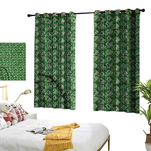 Opehodecor Poker Blackout Curtain Panels Doodle Icons Squared Backdrop Thermal Insulated Draperies W55 x L45