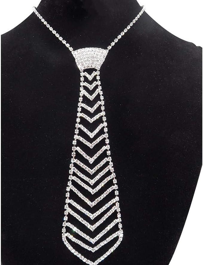 Fewxdsad Moda de Lujo Diamond Tie Rhinestone Collar Corbata Moda ...