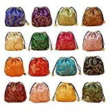 Gold Fortune 32PCS Silk Brocade Jewelry Pouch Bag Drawstring Coin Purse Gift Bag Value Set