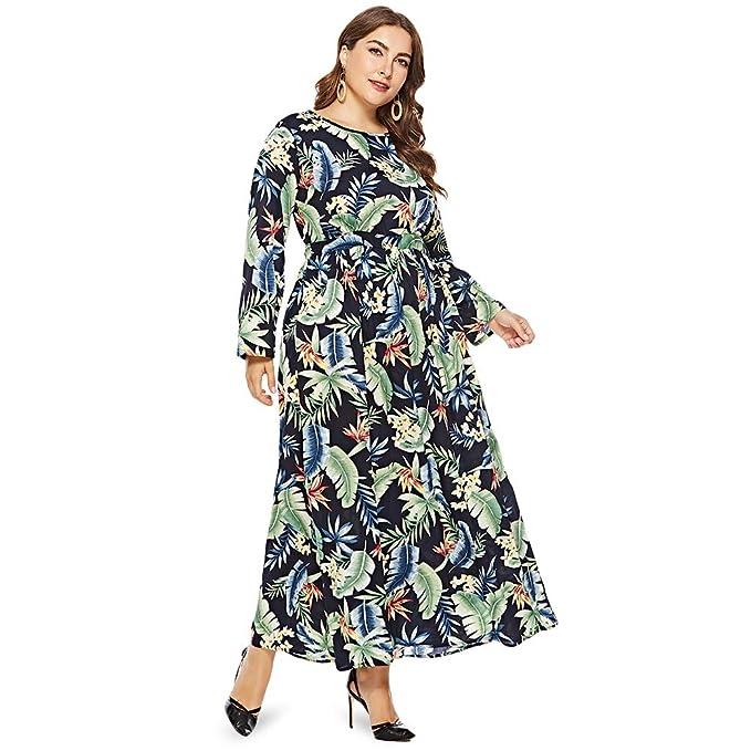 44123c33a1d1d Amazon.com  EbuyChX Round Collar Long Sleeve Leaf Floral Print Plus Size  Women Maxi Dress Dollar Bill Green 5XL  Clothing