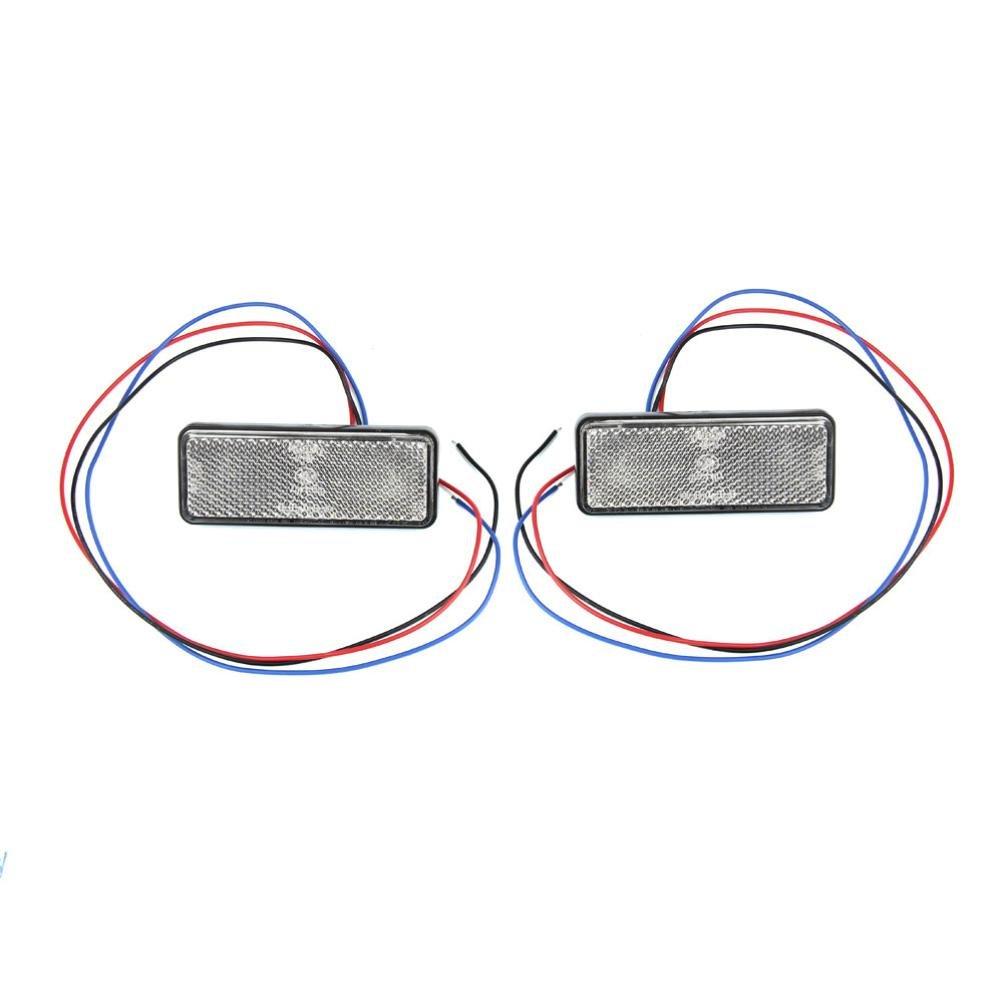 Quaant 2x Universal Car ATV SUV 12V Red 24 LED Stop Fog Tail Brake Light Lamp Bulb (White)