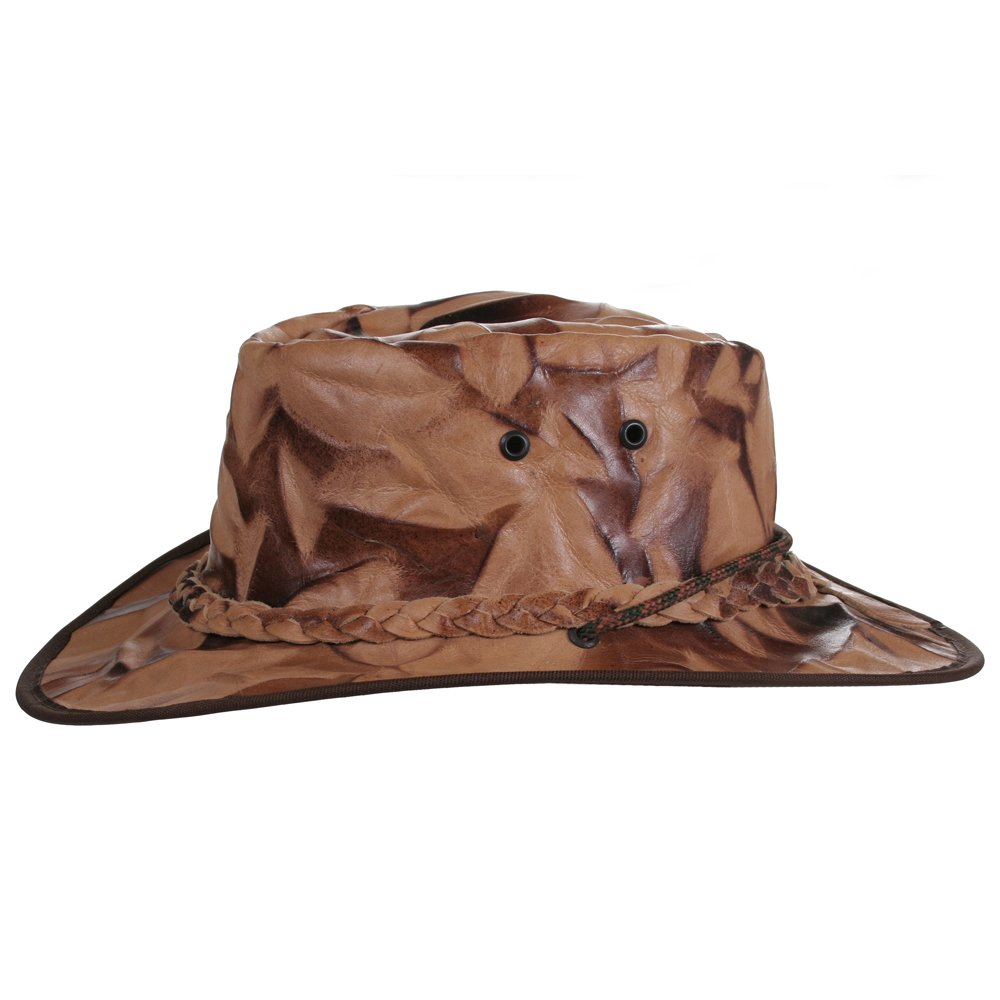 Leather Hat with unique Desert Camo design Hand Crafted Cowboy//Outback//Aussie S