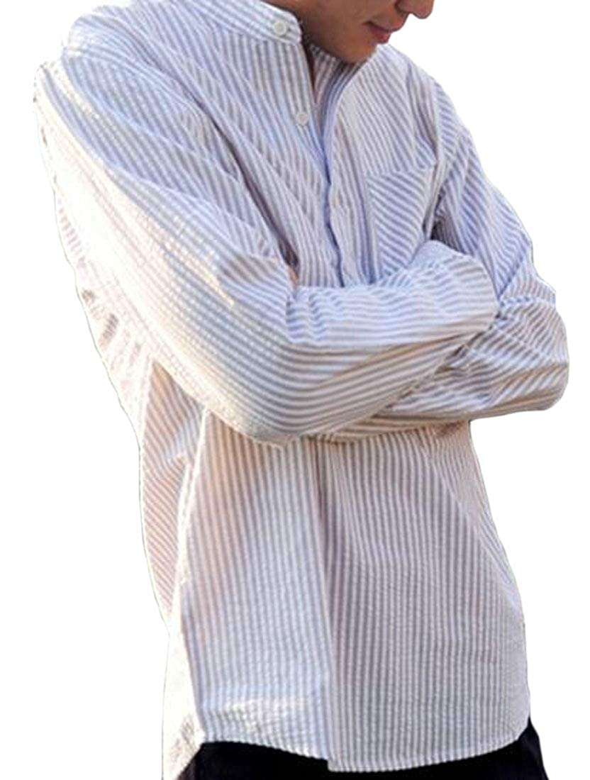 Fensajomon Mens Casual Business Long Sleeve Plus Size Stripe Dress Henley Shirts