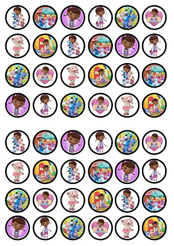 48 Doc McStuffins Edible PREMIUM THICKNESS SWEETENED VANILLA, Wafer Rice Paper Cupcake Toppers/Decorations]()