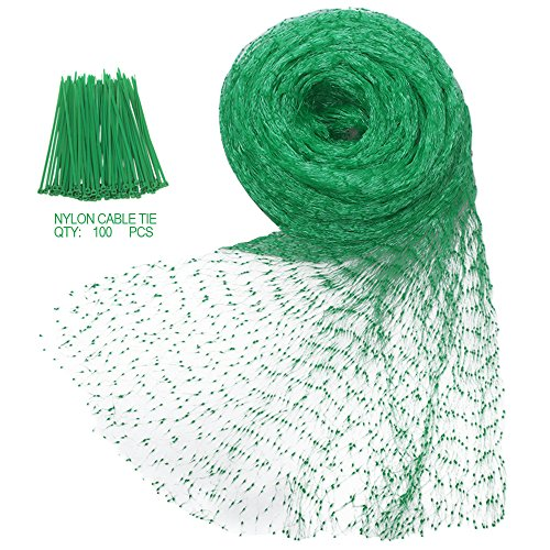 Heqishun Anti-Bird Netting 33Ft x 13Ft Nylon Woven with 100Pcs Nylon Cable Ties Garden Farm Plants Fencing Mesh Fruits Protector Durable Fish Ponds Cover Green (Net For Plants)