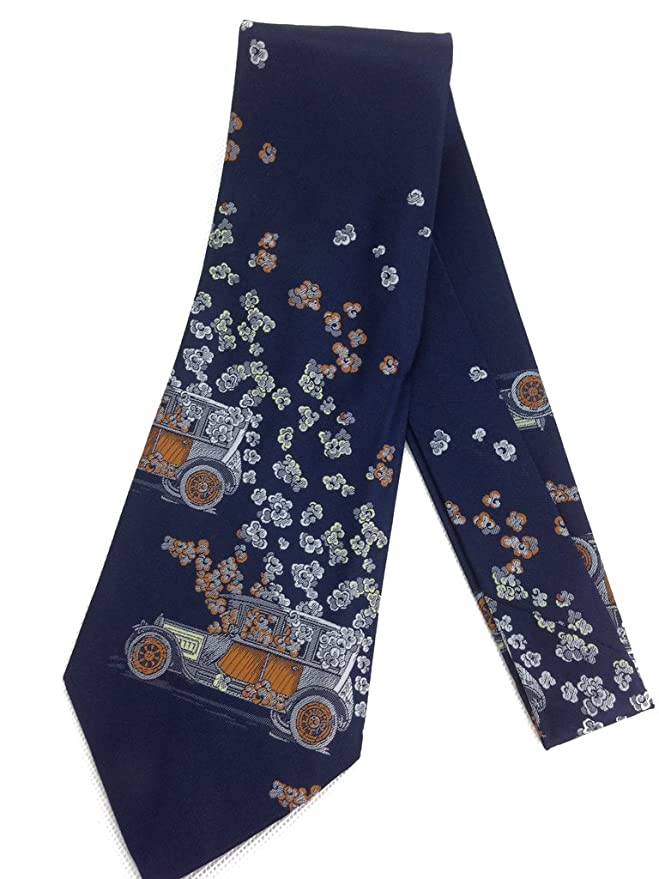 1920s Bow Ties | Gatsby Tie,  Art Deco Tie Automobile Flower Shower Necktie - Vintage Jacquard Weave Wide Kipper Tie - Navy Blue - Dutchie $17.95 AT vintagedancer.com