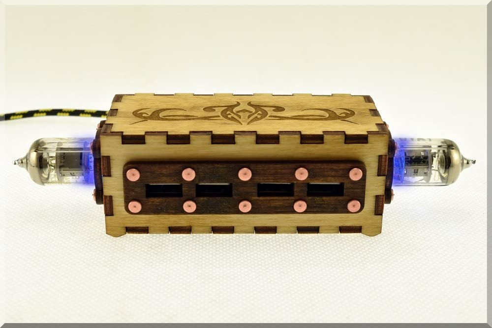 Handmade Wooden BLUE Double Pentode Vacuum Radio Tubes 4 ports USB HUB with engraved vintage ornaments. ####### (Tags: Wood Handwork Handcraft Exclusive Unique Best Cool Great Retro Vintage Gadget Device. Idea for Christmas New Year Birthday Present Gift. For Geek Man Him Dad Boy Teen. For Computer Tablet PC Notebook Laptop Mac)