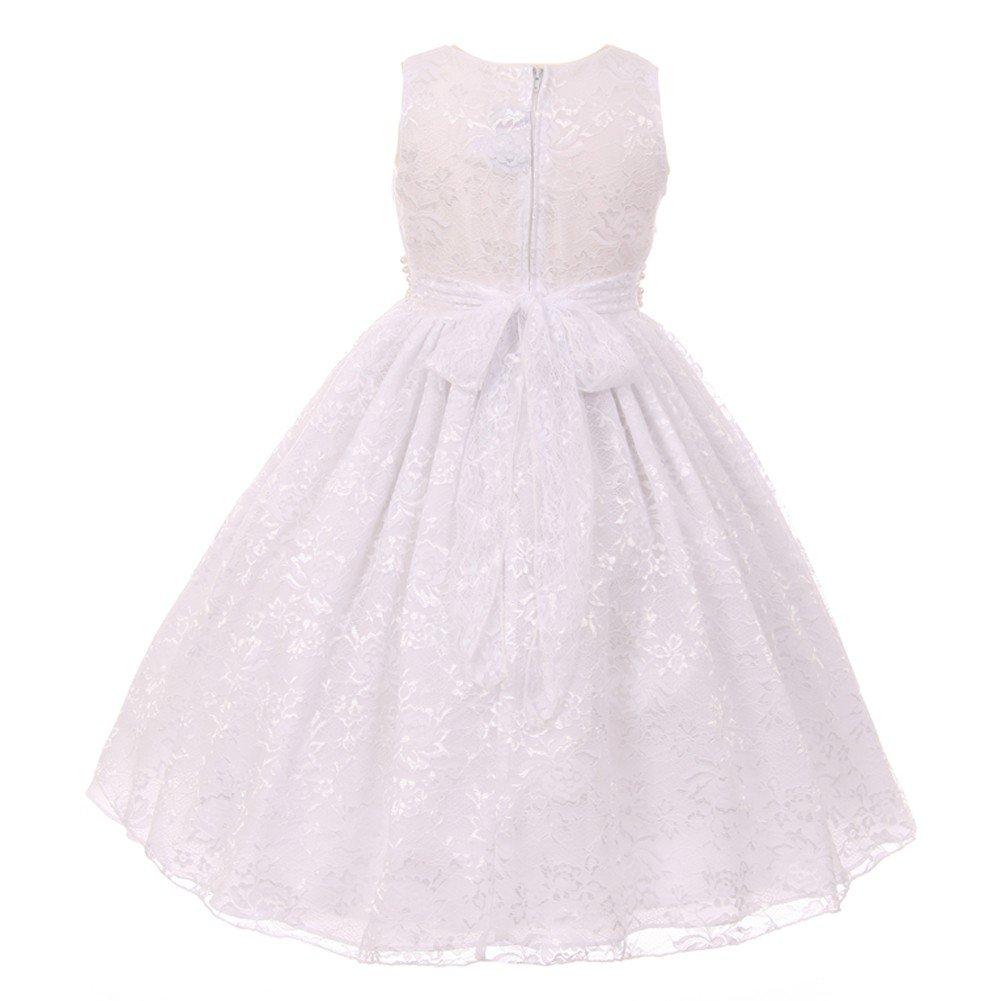 87d872ed8d Amazon.com  Big Girls White Lace Glitter Stone Pearl Accent Junior  Bridesmaid Dress 8-14  Clothing