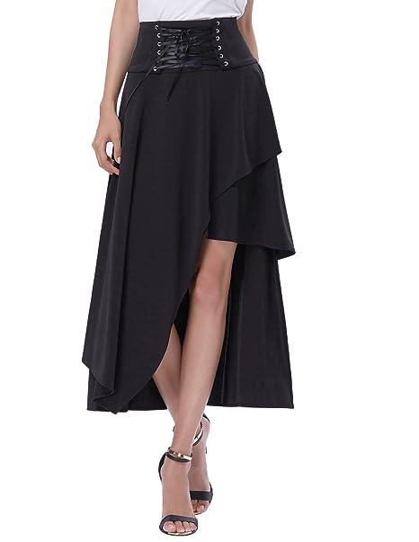Falda de verano negra para mujer Falda elegante de Steampunk Falda con vuelo en línea Falda