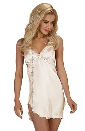0d97281b793c7 Sexy Bridal Ivory Chemise Satin Babydoll Slip Lingerie Set Plus Size Cream  Lingerie Wedding 8 10 12 14 16 18 UK  Amazon.co.uk  Clothing