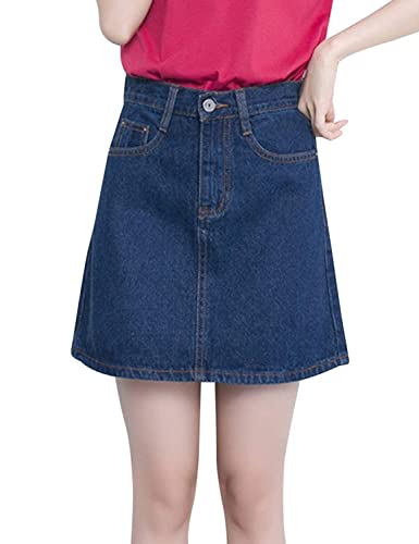 Tanming Women Casual Loose A-line Denim Skirts (X-Small, Dark Blue)