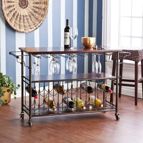 Southern Enterprises Rolden Wine Bar Cart, Espresso